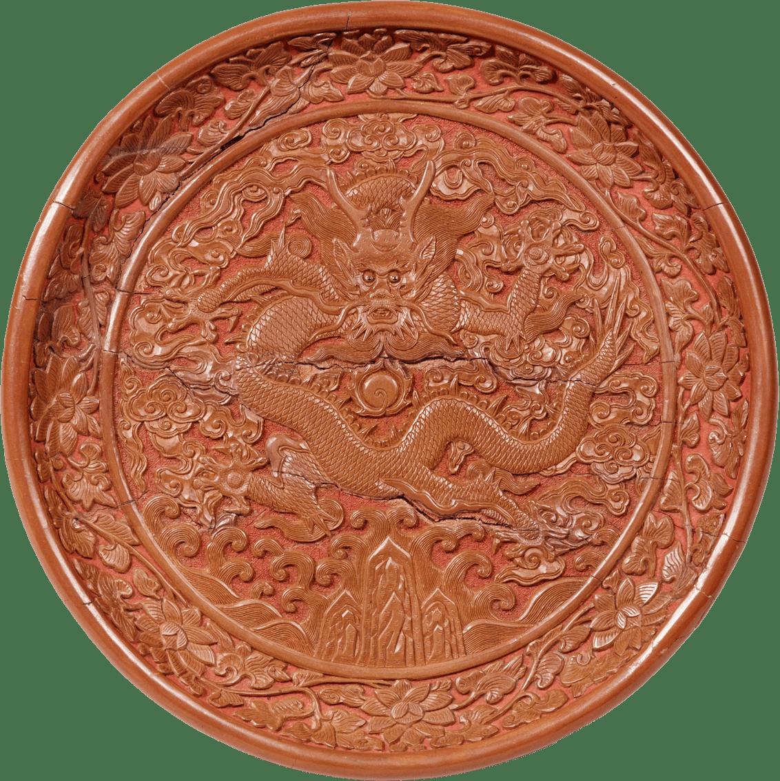 堆黄龍図円盆