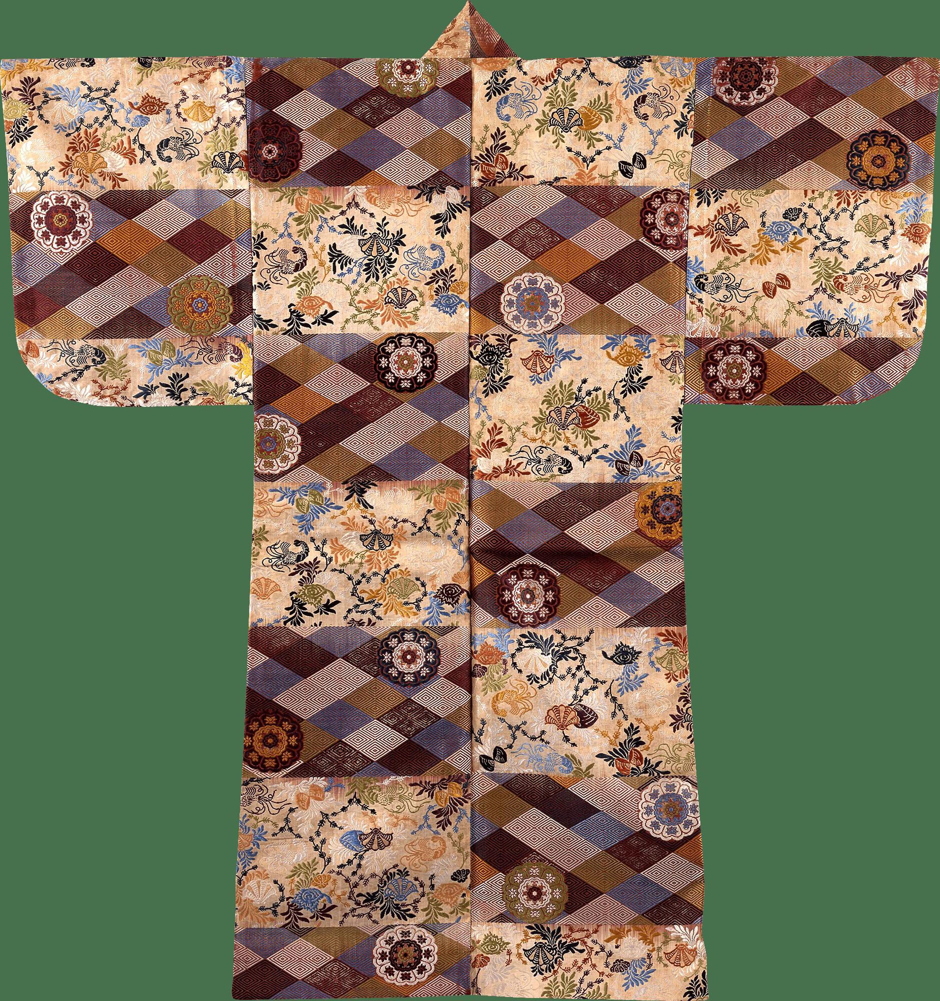 白紫段海松貝入子菱繋唐花模様厚板