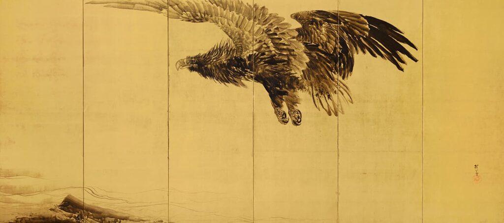 木島櫻谷《猛鷲波濤図屏風》(右隻)明治36年(1903)