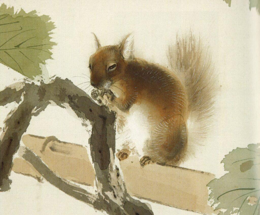 木島櫻谷《葡萄栗鼠》(部分)大正時代